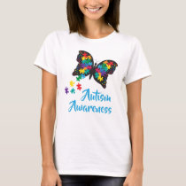 Autism Awareness Butterfly Puzzle Pattern T-Shirt
