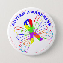 Autism Awareness Butterfly Ribbon Button