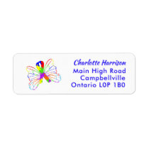 Autism Awareness Butterfly Ribbon Label