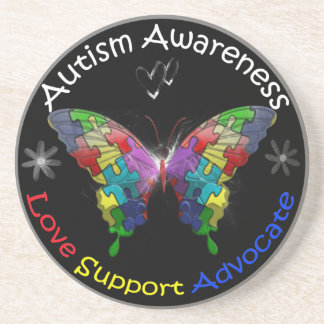 Autism Awareness Butterfly Sandstone Coaster