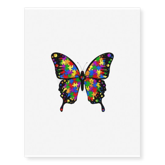 Autism Awareness Butterfly Temp Tattoo Zazzle