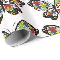 Autism Awareness Butterfly Wrapping Paper