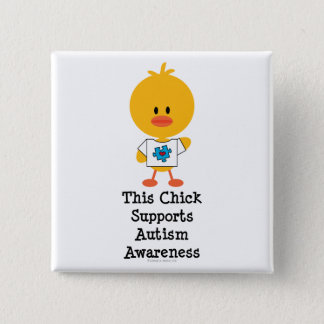 Autism Awareness Chick Button
