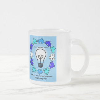 Autism Awareness Coffee Cup 10 Oz Frosted Glass Coffee Mug