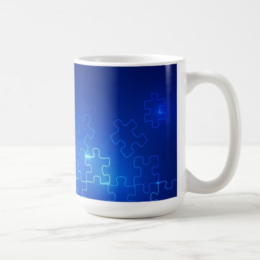 Autism Awareness Coffee Mug Glowing Blue Puzzle