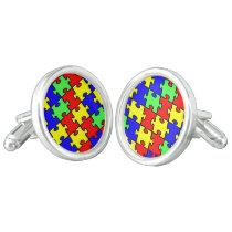 Autism Awareness Colorful Puzzle Cufflinks