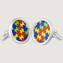 Autism Awareness Colorful Puzzle Cufflinks