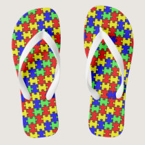 Autism Awareness Colorful Puzzle Flip Flops