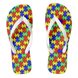 Autism Awareness Colorful Puzzle Flip Flops