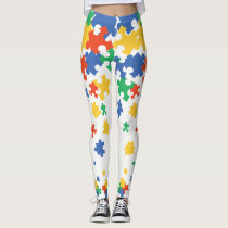 Autism Awareness Colorful Puzzle Pieces Leggings