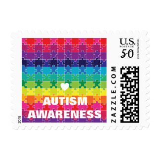 Autism Awareness Colorful Puzzle Pieces Postage