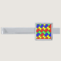 Autism Awareness Colorful Puzzle Silver Finish Tie Bar