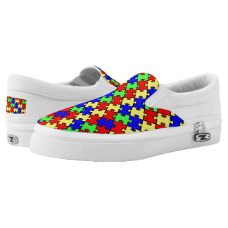 Autism Awareness Colorful Puzzle Slip-On Sneakers