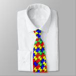 """Autism Awareness Colorful Puzzle Tie<br><div class=""""desc"""">Colorful puzzle tie for Autism Awareness. Make it your own by changing the background color. Pair it with a Puzzle tie bar and some cuff links to show your support at any dress up function.</div>"""