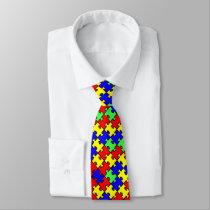 Autism Awareness Colorful Puzzle Tie