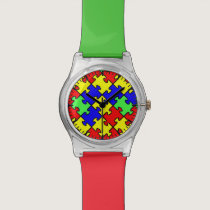 Autism Awareness Colorful Puzzle Wrist Watch