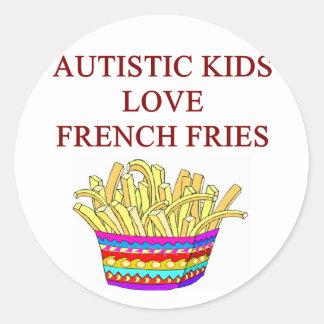 autism awareness design what autistic kids love classic round sticker