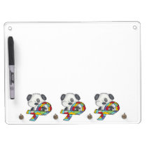 AUtism Awareness Dog Dry Erase Board With Keychain Holder