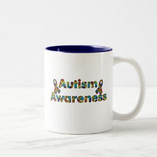 Autism Awareness - Double Ribbon Two-Tone Coffee Mug
