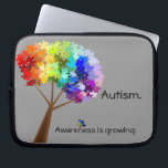 """Autism Awareness Electronics Bag<br><div class=""""desc"""">A tree with a rainbow of puzzle pieces makes for an attractive autism awareness symbol.  The text &quot;awareness is growing&quot; can be customized if desired.  Original artwork by Rebecca of Nightowl&#39;s Menagerie,  2010.</div>"""