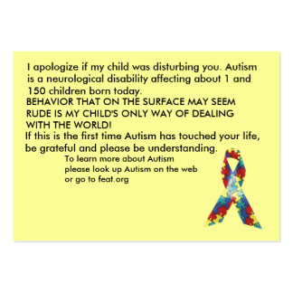 Autism Awareness Explanation Cards - Customized Large Business Cards (Pack Of 100)