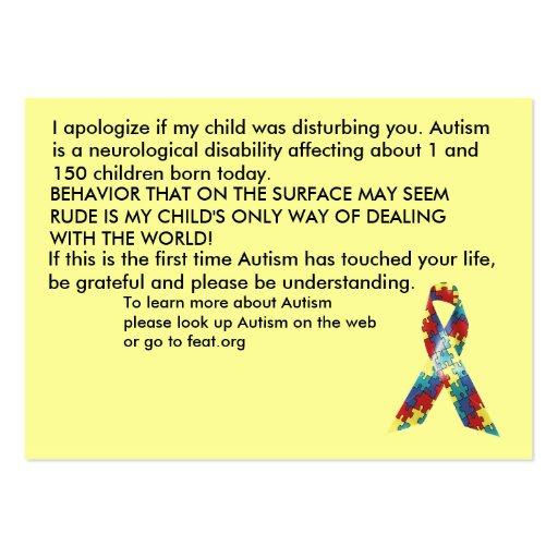 Autism Awareness Explanation Cards Customized