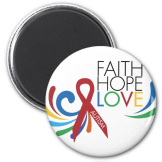 Autism Awareness - Faith, Hope, Love 2 Inch Round Magnet