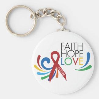 Autism Awareness - Faith, Hope, Love Basic Round Button Keychain