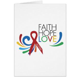Autism Awareness - Faith, Hope, Love Card