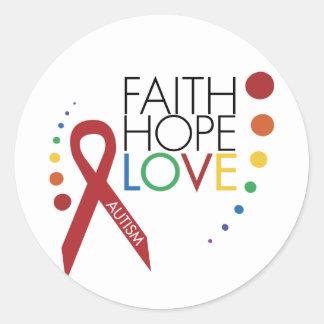 Autism Awareness - Faith, Hope, Love Classic Round Sticker