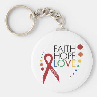 Autism Awareness - Faith, Hope, Love Keychain