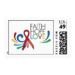 Autism Awareness - Faith, Hope, Love Postage