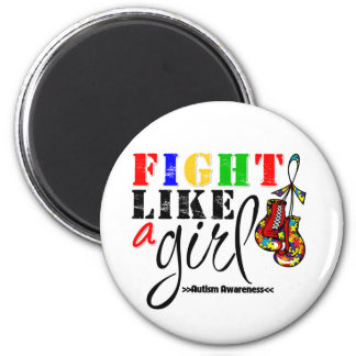 Autism Awareness Fight Like a Girl 2 Inch Round Magnet