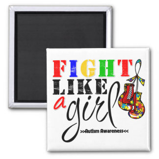 Autism Awareness Fight Like a Girl 2 Inch Square Magnet