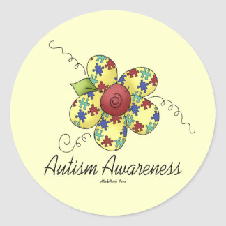 Autism Awareness Flower Classic Round Sticker