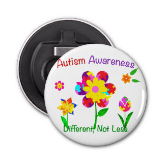 Autism Awareness Flowers Bottle Opener