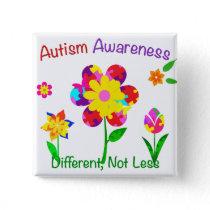 Autism Awareness Flowers Button