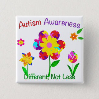 Autism Awareness Flowers Button
