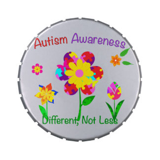Autism Awareness Flowers Jelly Belly Candy Tin
