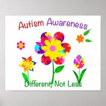 Autism Awareness Flowers Poster