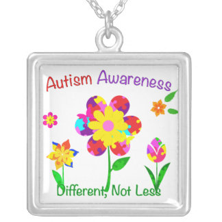 Autism Awareness Flowers Silver Plated Necklace