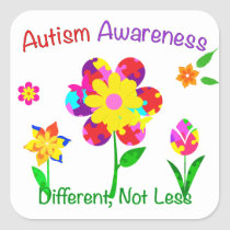 Autism Awareness Flowers Square Sticker