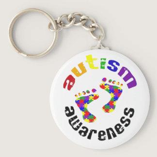 Autism awareness footprints keyring