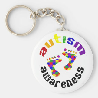 Autism awareness footprints keyring basic round button keychain