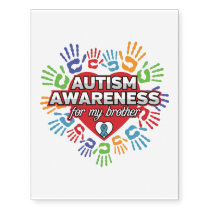Autism Awareness for my Brother Temporary Tattoos