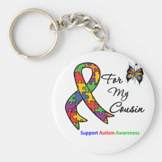 Autism Awareness For My Cousin Basic Round Button Keychain