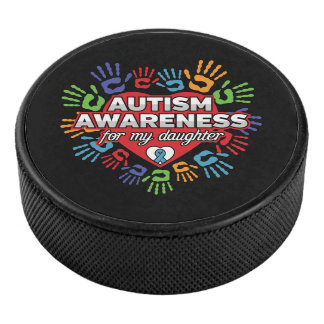 Autism Awareness for my Daughter Hockey Puck