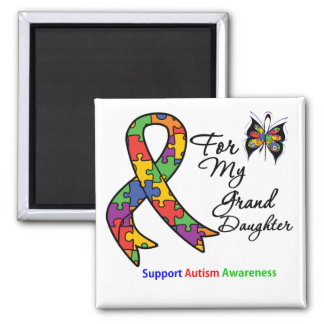 Autism Awareness For My Granddaughter 2 Inch Square Magnet