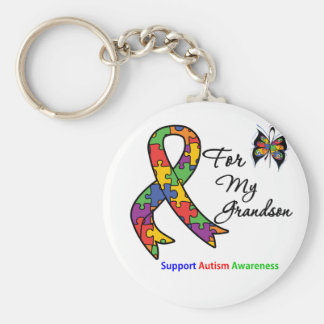Autism Awareness For My Grandson Basic Round Button Keychain