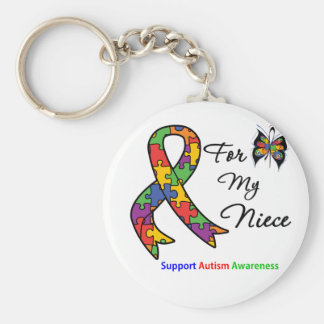 Autism Awareness For My Niece Basic Round Button Keychain
